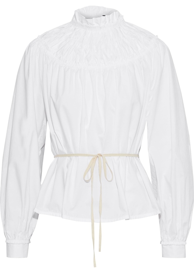 Proenza Schouler Woman Ruffle-trimmed Shirred Cotton-poplin Blouse White