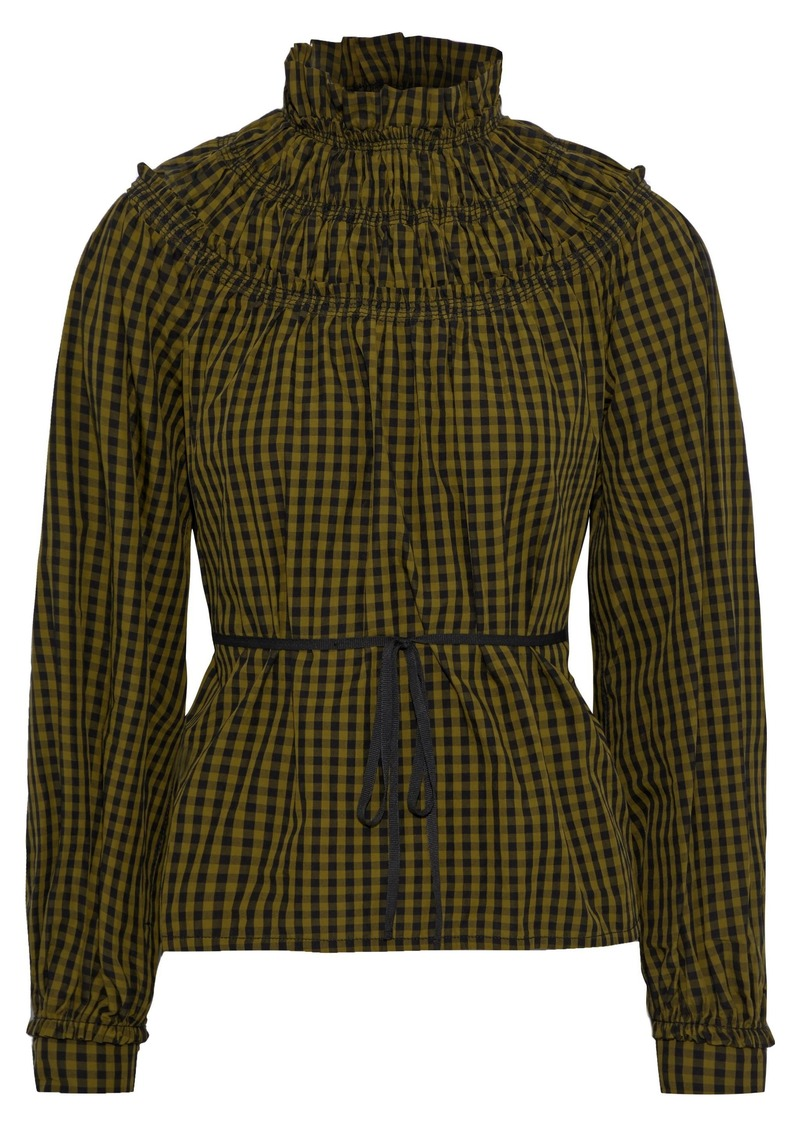 Proenza Schouler Woman Ruffle-trimmed Shirred Gingham Cotton-poplin Blouse Army Green