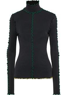Proenza Schouler Woman Ruffle-trimmed Stretch-crepe Turtleneck Top Black