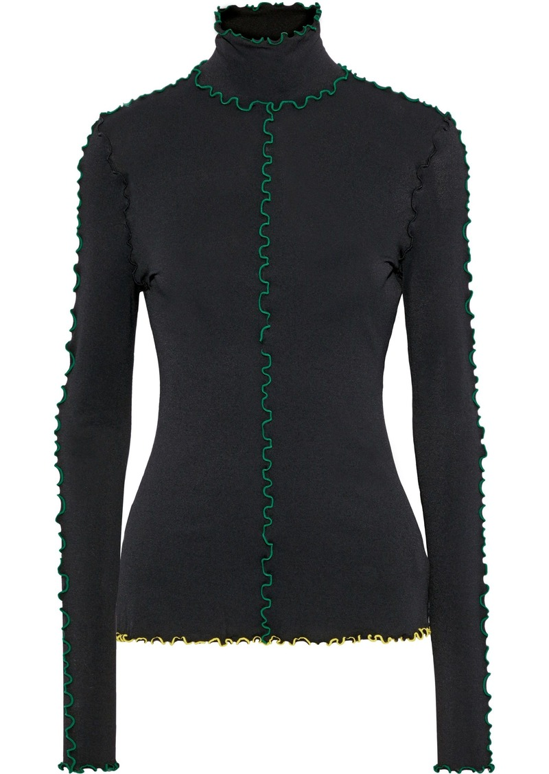 Proenza Schouler Woman Ruffle-trimmed Stretch-crepe Turtleneck Top Black