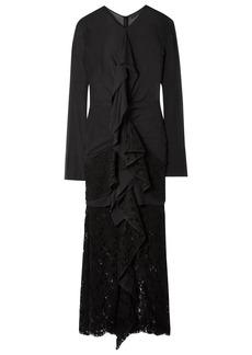 Proenza Schouler Woman Ruffled Cotton-blend Chiffon And Lace Midi Dress Black