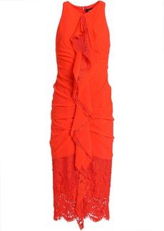 Proenza Schouler Woman Ruffled Lace-paneled Ruched Cotton Dress Bright Orange