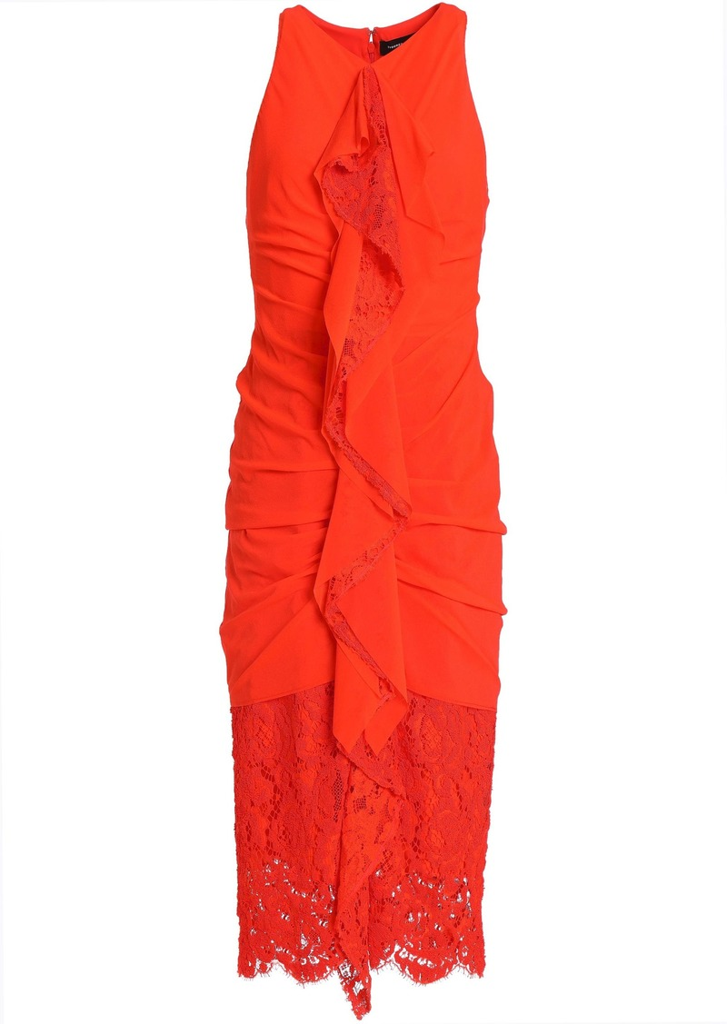 Proenza Schouler Woman Ruffled Lace-paneled Ruched Cotton Dress Bright Orange