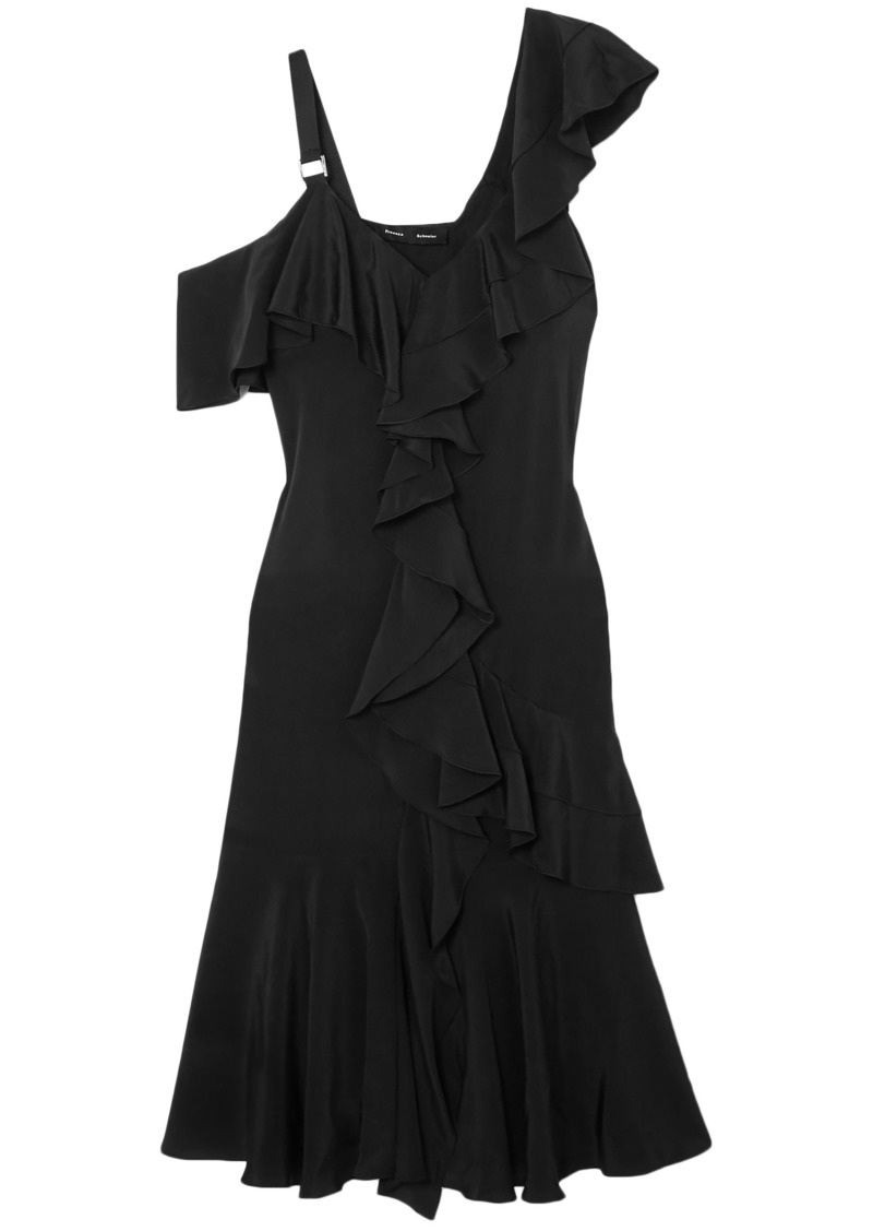 Proenza Schouler Woman Ruffled Silk Crepe De Chine Dress Black