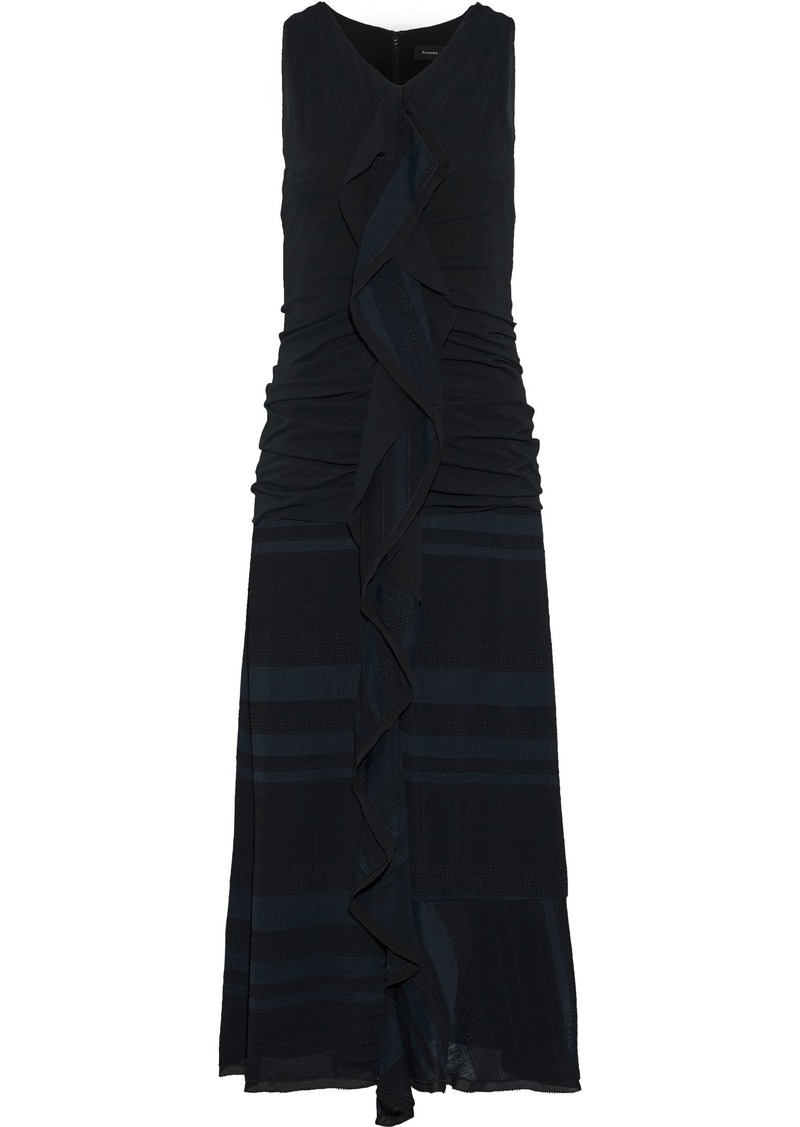 Proenza Schouler Woman Ruffle-trimmed Ruched Silk-cloqué Midi Dress Midnight Blue