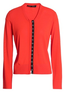 Proenza Schouler Woman Satin-trimmed Knitted Cardigan Bright Orange