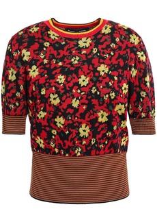 Proenza Schouler Woman Floral-print Jacquard-knit Silk-blend Sweater Claret