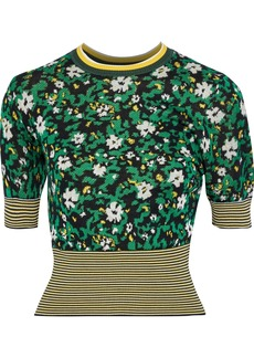 Proenza Schouler Woman Silk-blend Floral-jacquard Top Green