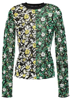 Proenza Schouler Woman Silk Floral-jacquard Sweater Green