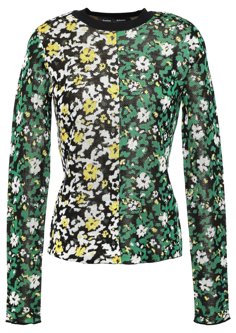 Proenza Schouler Woman Silk Floral-jacquard Sweater Green