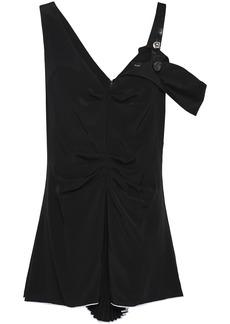 Proenza Schouler Woman Cold-shoulder Shirred Silk Crepe De Chine Top Black