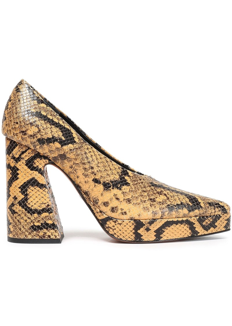 Proenza Schouler Woman Snake-effect Leather Platform Pumps Animal Print