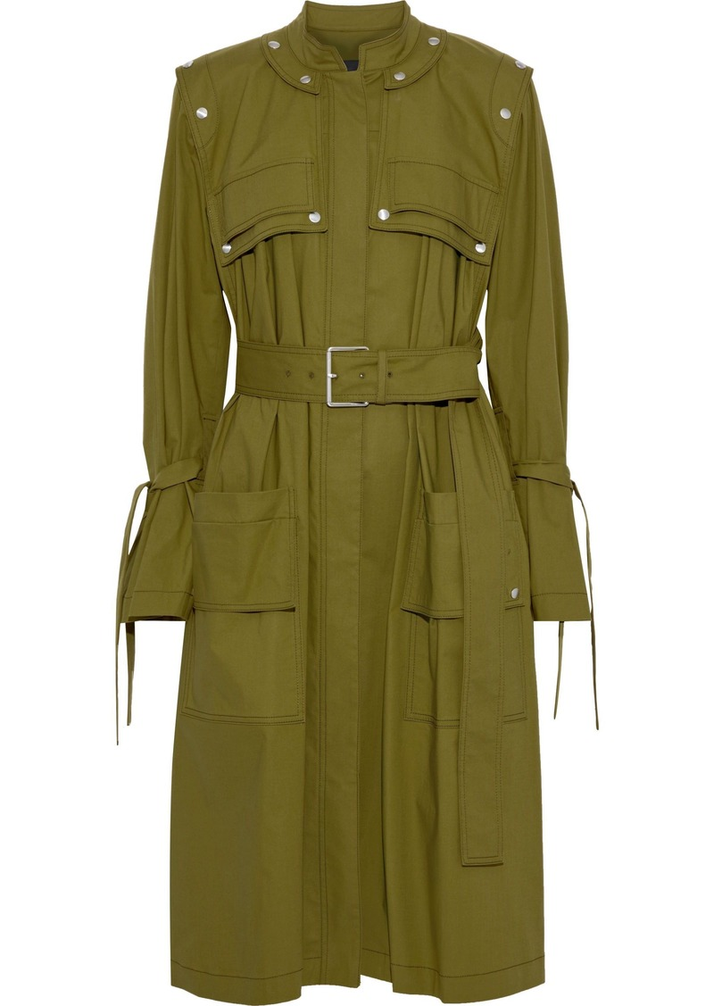 Proenza Schouler Woman Snap-detailed Cotton-blend Canvas Coat Army Green
