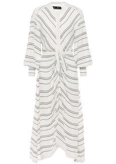 Proenza Schouler Woman Striped Crepe Midi Dress White