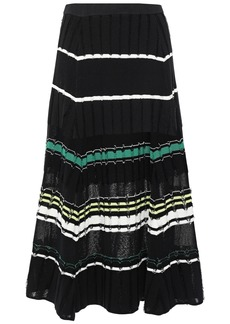 Proenza Schouler Woman Striped Fil Coupé Knitted Midi Skirt Black