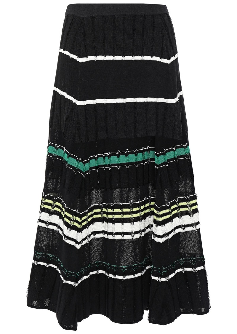 Proenza Schouler Woman Striped Fil Coupé Knitted Midi Skirt White