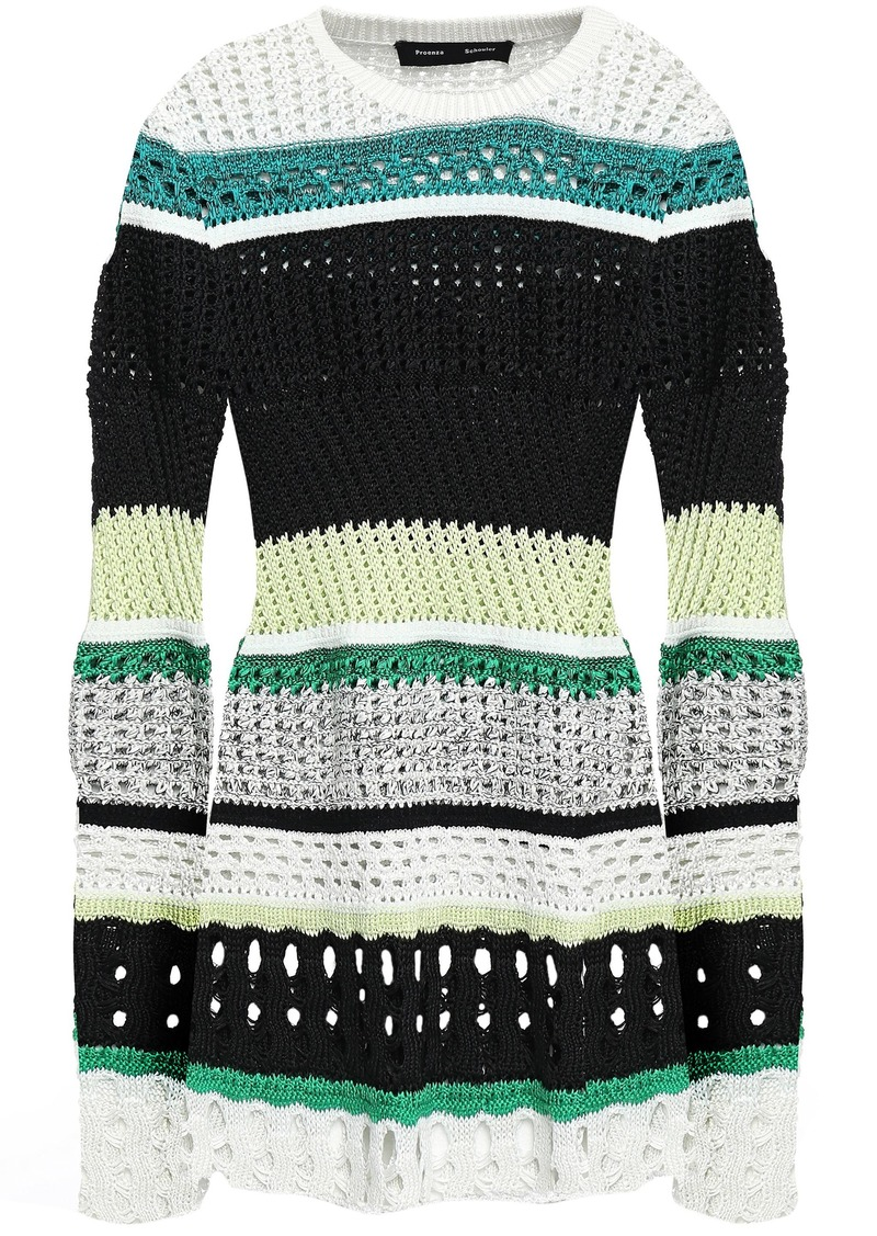Proenza Schouler Woman Striped Crochet-knit Silk-blend Top White