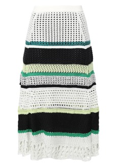 Proenza Schouler Woman Striped Open-knit Silk-blend Midi Skirt White