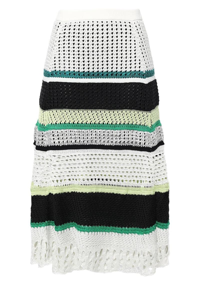 Proenza Schouler Woman Striped Open-knit Silk-blend Midi Skirt White