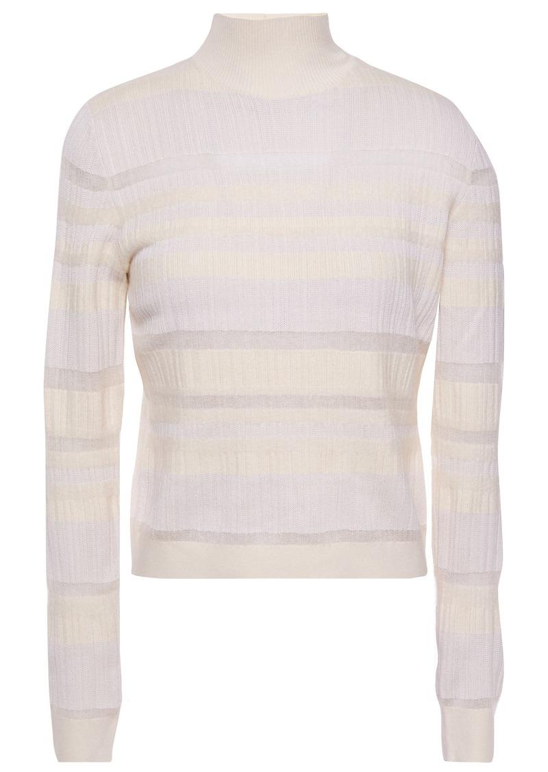 Proenza Schouler Woman Striped Ribbed-knit Turtleneck Sweater Ecru