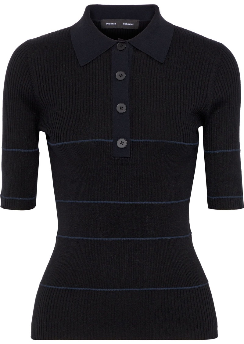 Proenza Schouler Woman Striped Ribbed Silk-blend Polo Shirt Black