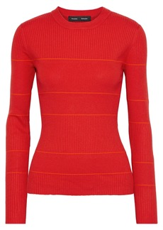 Proenza Schouler Woman Striped Ribbed Silk-blend Sweater Tomato Red