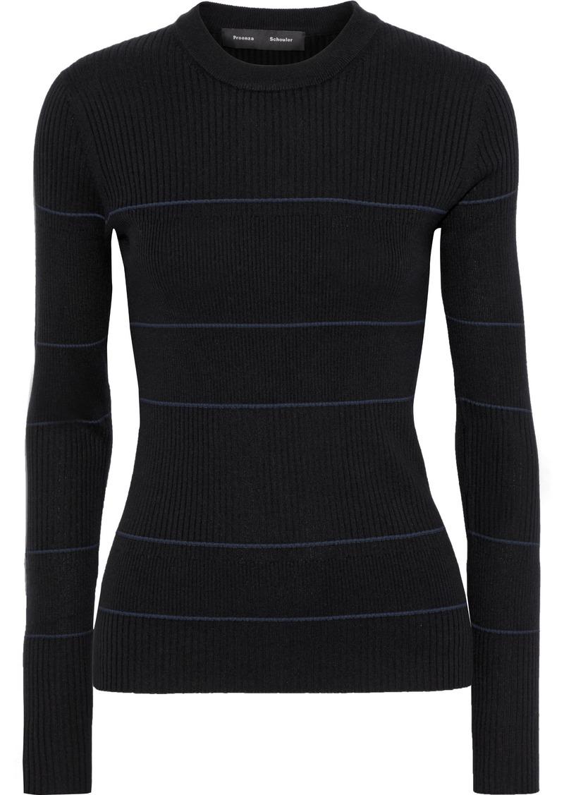 Proenza Schouler Woman Striped Ribbed Silk-blend Sweater Black