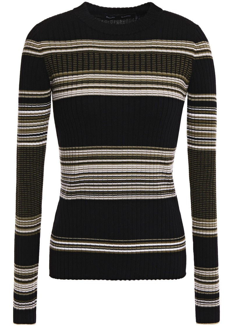 Proenza Schouler Woman Striped Ribbed Wool-blend Sweater Black