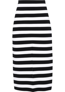 Proenza Schouler Woman Striped Stretch-knit Midi Skirt Black