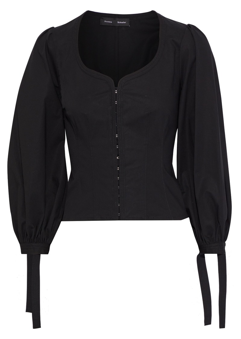 Proenza Schouler Woman Tie-detailed Cotton-blend Poplin Blouse Black
