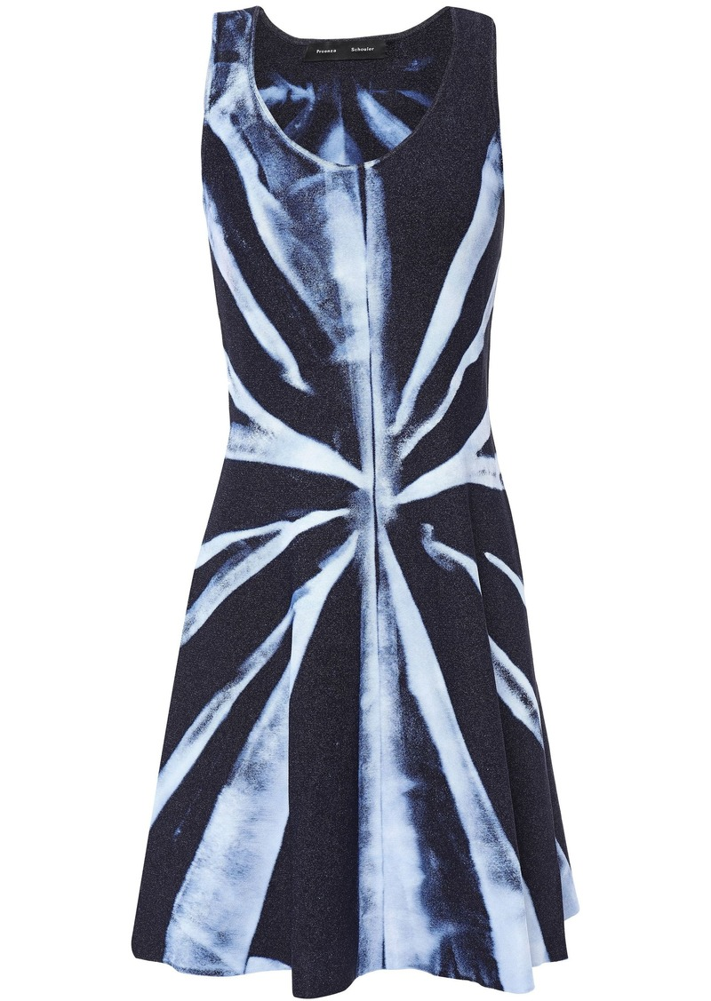 Proenza Schouler Woman Tie-dyed Stretch-knit Mini Dress Navy