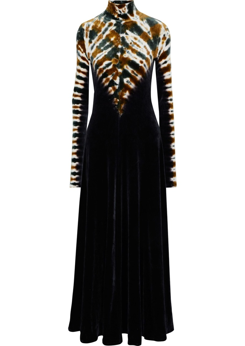 Proenza Schouler Woman Tie-dyed Velvet Turtleneck Maxi Dress Black