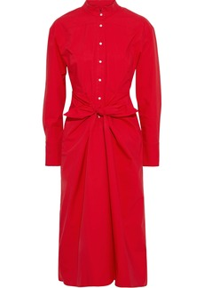 Proenza Schouler Woman Tie-front Cotton-blend Poplin Shirt Dress Tomato Red