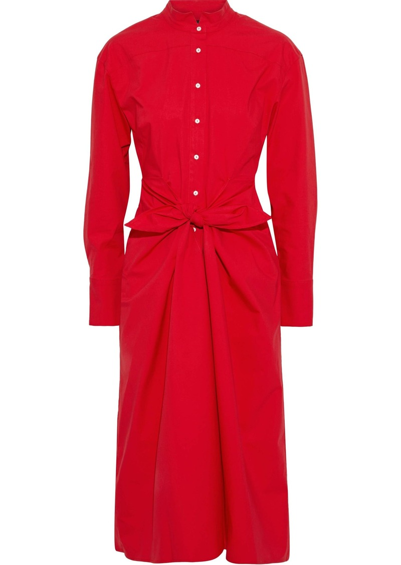 Proenza Schouler Woman Tie-front Cotton-blend Poplin Shirt Dress Tomato Red