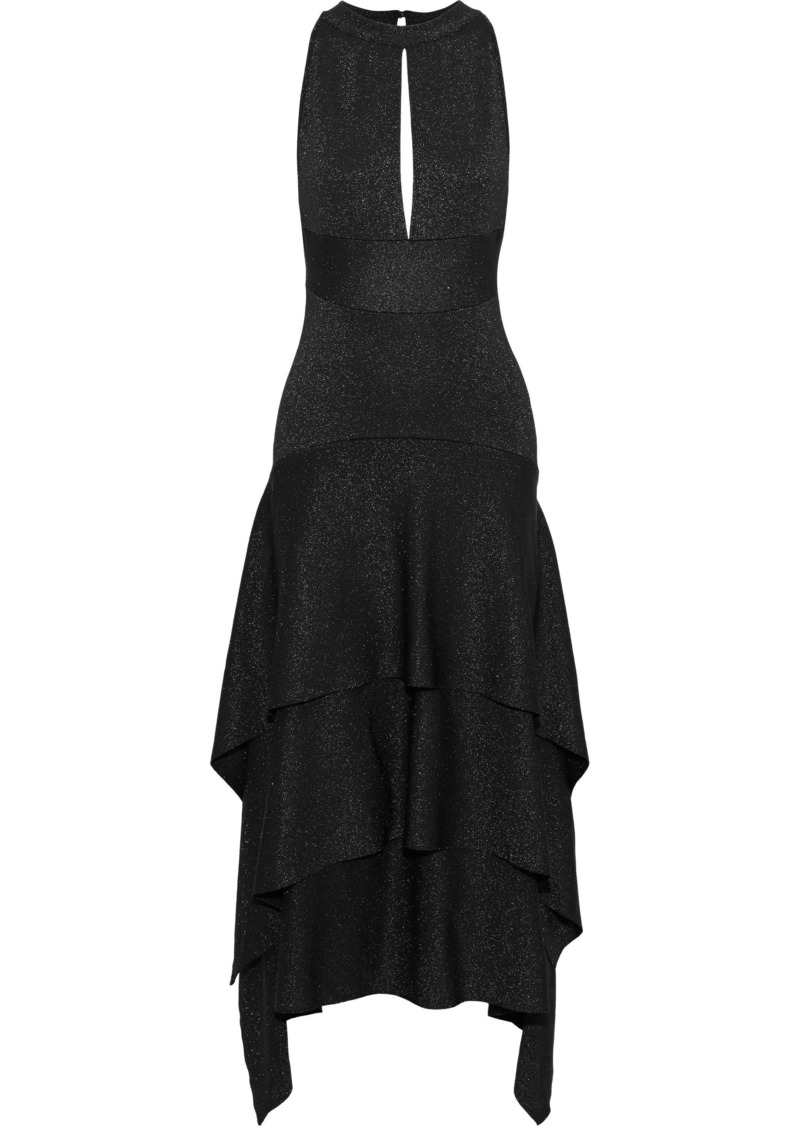 Proenza Schouler Woman Tiered Cutout Metallic Stretch-knit Midi Dress Black