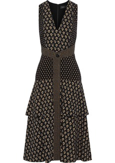 Proenza Schouler Woman Tiered Printed Crepe Dress Black