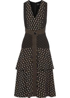 Proenza Schouler Woman Tiered Printed Crepe Dress Black