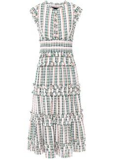 Proenza Schouler Woman Tiered Ruffle-trimmed Tweed Midi Dress White