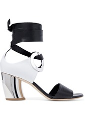 Proenza Schouler Woman Eyelet-embellished Leather And Suede Sandals Black