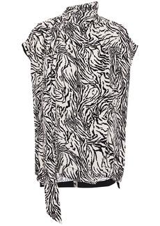 Proenza Schouler Woman Wrap-effect Cutout Draped Zebra-print Crepe Blouse Animal Print