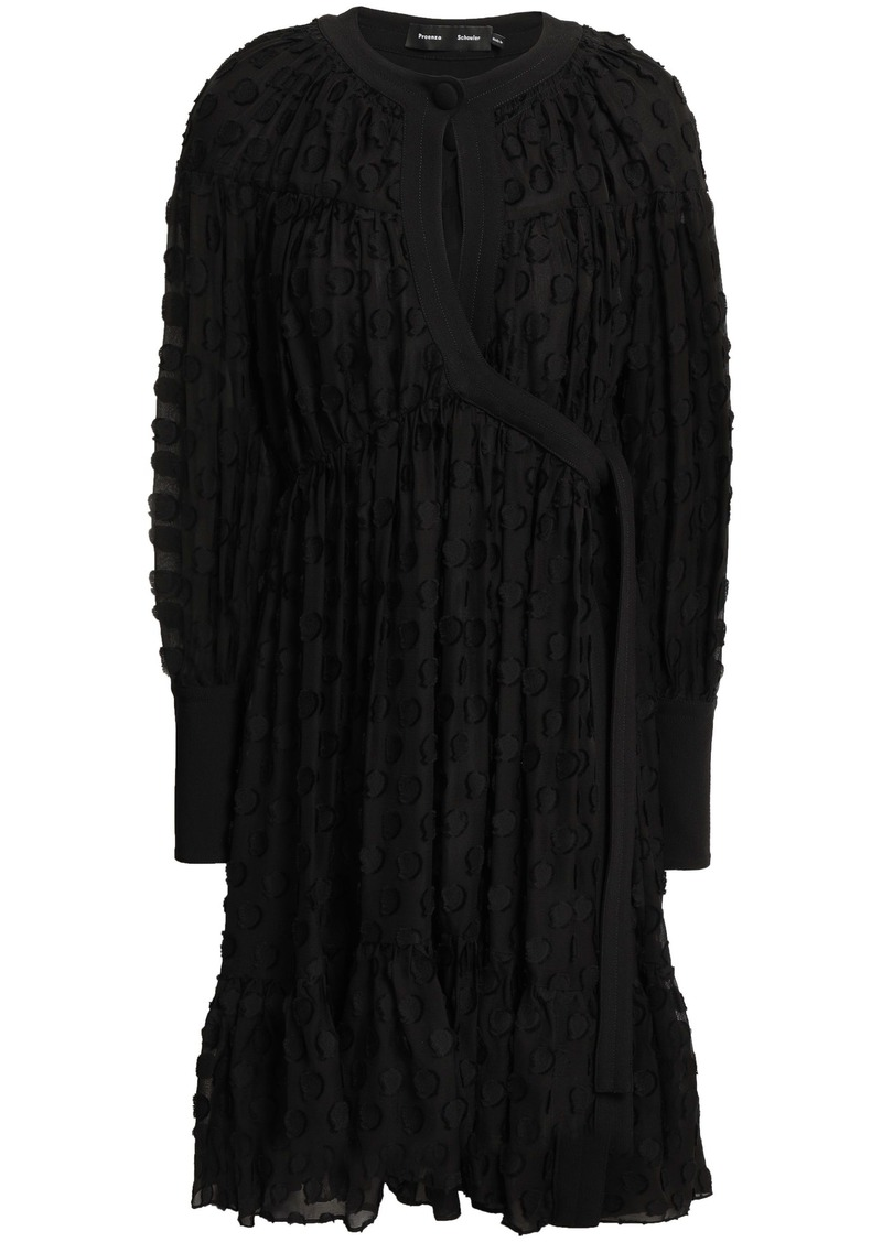 Proenza Schouler Woman Wrap-effect Fil Coupé Silk And Cotton-blend Chiffon Dress Black