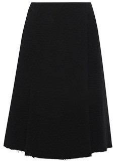 Proenza Schouler Woman Wrap-effect French Cotton-blend Terry Skirt Black