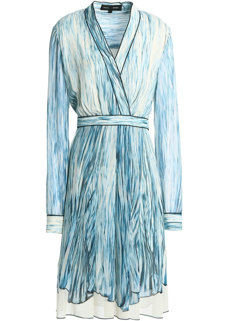 Proenza Schouler Woman Wrap-effect Printed Silk-georgette Dress Sky Blue