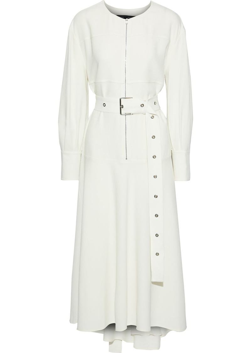 Proenza Schouler Woman Zip-detailed Belted Crepe Midi Dress Ecru