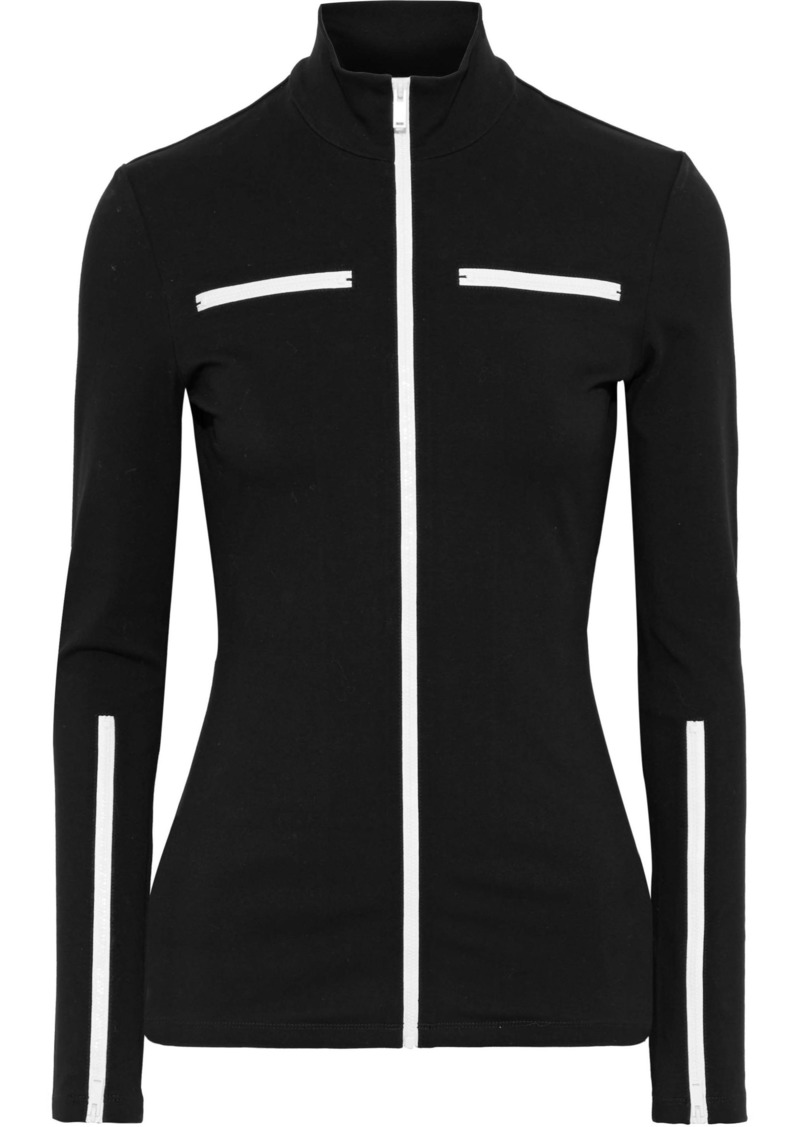 Proenza Schouler Woman Zip-detailed Cotton-blend Jersey Top Black
