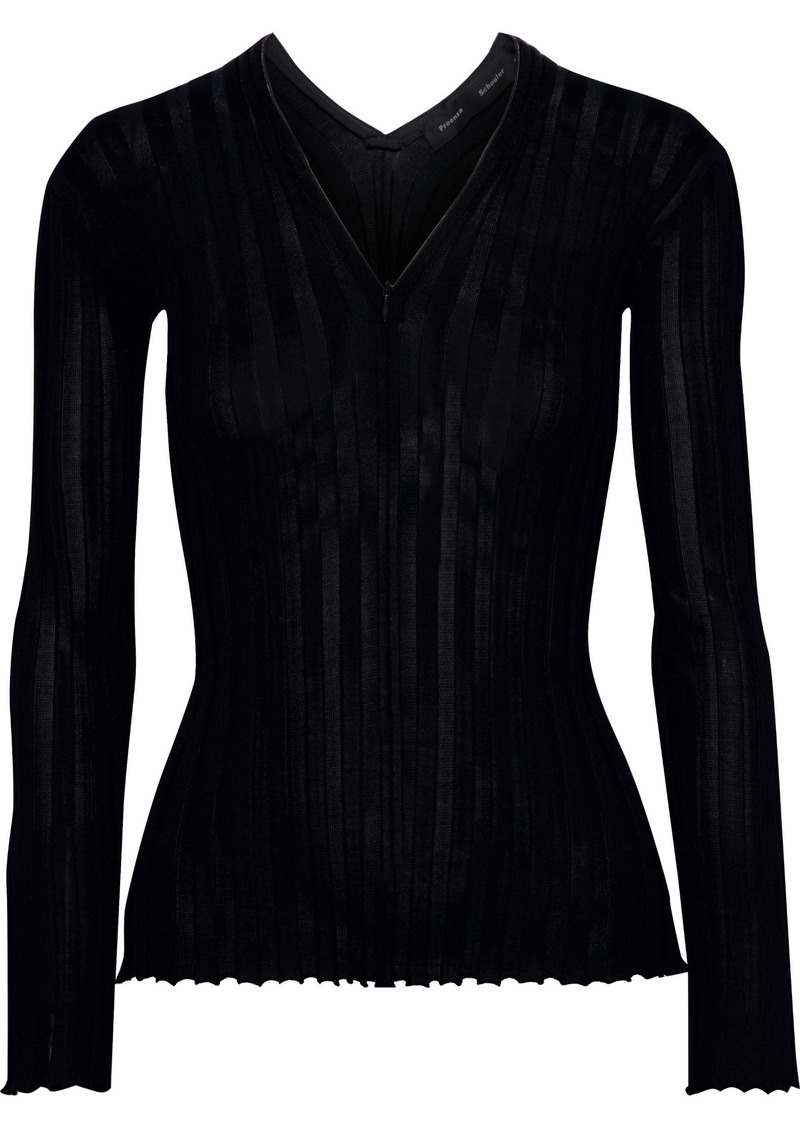 Proenza Schouler Woman Zip-detailed Ribbed Silk-blend Top Black