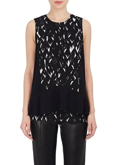 Proenza Schouler Women's Feather-Print Silk Sleeveless Blouse