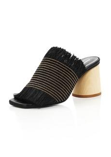 Proenza Schouler Women's Fringe Wood Heel Sandals