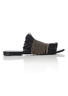 Proenza Schouler Women's Fringed Raffia Slide Sandals