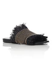 Proenza Schouler Women's Fringed Raffia Slide Sandals